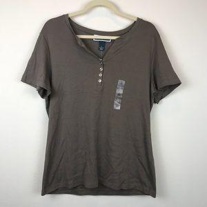 NWT Karen Scott Short Sleeve Shirt Buttons Brown
